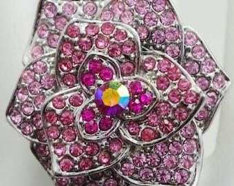Rhinestone Flower Ring/Pink/Aurora Borealis/Mother's Day Gift/Statement Ring/Spring/Summer JewelryAdjustable/Under 15 USD