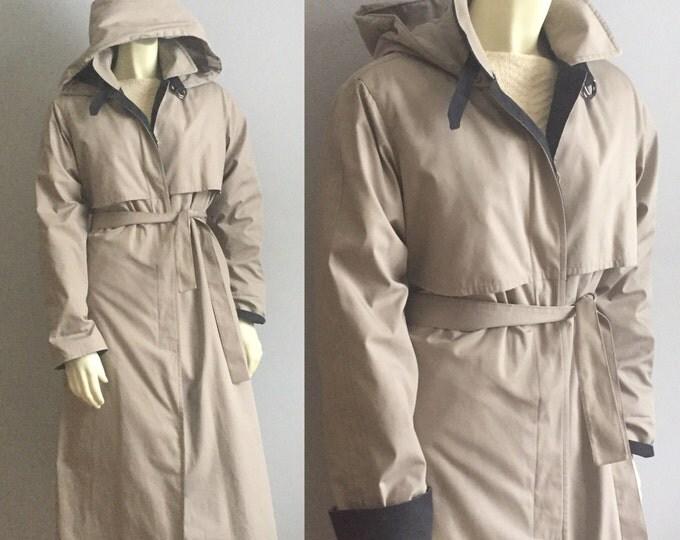 8 London Fog beige // black detail trim hooded lined TRENCH COAT womens 80s vintage preppy professional weather & water proof waist belt S M