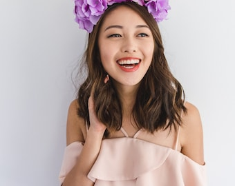 red purple spring racing fascinator // spring races flower crown headband, statement floral headpiece, melbourne cup, oaks day