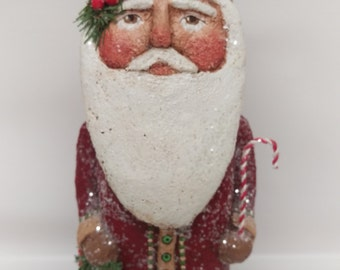 Paper Mache Santa - Folk Art Santa - Primitive Santa - Santa Sculpture