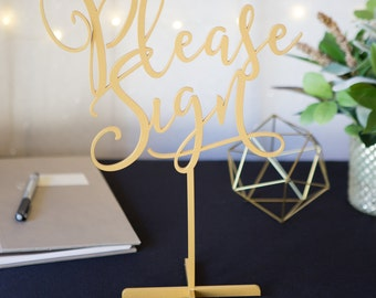 "Wedding Sign Guestbook Table ""Please Sign"" Standing Wedding Sign Guest Book or Party Table Decor Reception Signs (Item - LPS150)"