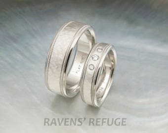 platinum his and hers wedding bands with milgrain / hammered platinum wedding rings