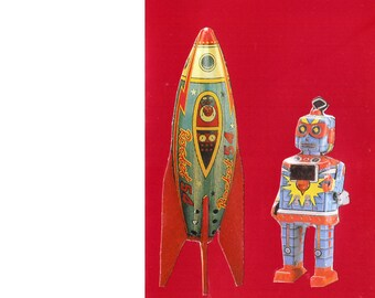Space Age Greeting Collage Card - Featuring Spaceship and Robot - Blank Card Inside - Unusual