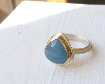 Rough Aquamarine Teardrop Ring - Rustic Band - 14kt Gold and Sterling Silver - Size 8