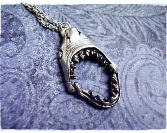 Movable Shark Jaws Necklace - Antique Pewter Shark Jaws Charm on a Delicate Silver Plated Cable Chain or Charm Only