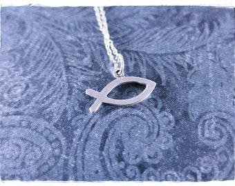 Silver Christian Fish Necklace - Sterling Silver Christian Fish Charm on a Sterling Silver Cable Chain or Charm Only