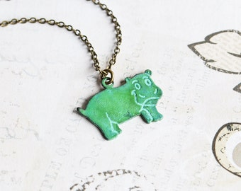 Green Patina Small Hippo Charm Necklace on Antiqued Brass Chain, Hand Patina