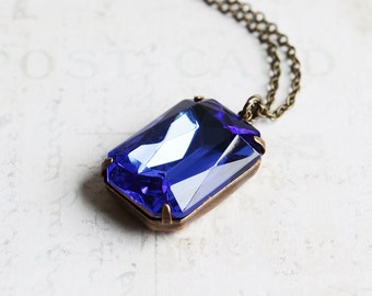 Dark Blue Necklace, Large Rhinestone Pendant Necklace on Antiqued Brass Chain, Sapphire Blue Glass Stone, Vintage Style Jewelry