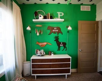 Forest Animals Deer Be Brave Bear Seek Adventure Fox Have Courage Wood Cut Wall Art Sign Decor Boho Nusery Boy Girl Play Bedroom Room