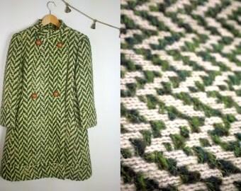 Fantastic Sixties Winter Wool Coat with Big Bakelite Buttons