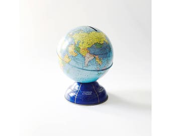 Vintage Tin World Globe Bank / Metric Conversions