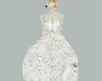 Deer in Web lace wedding  dress 8x11 Giclee print