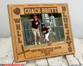 Personalized Youth Sports Team Gifts-Youth Sports Team Picture Frame-Names and Numbers-Wood Engraved-Color Choice
