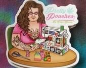 Ganja Granny, Vinyl, Sticker, Die Cut, Weather Resistant, Sewing Machine,  Tattooed, Grandma, 420, 710, Cannabis, Marijuana,  Free Shipping