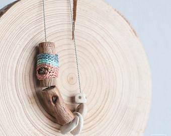 Ceramic Jewelry. Artisan Wooden necklace. Boho Jewelry. Blue, mint & pink. Ceramic, Wood and crochet pendant. Eco Friendly Jewelry. Nature