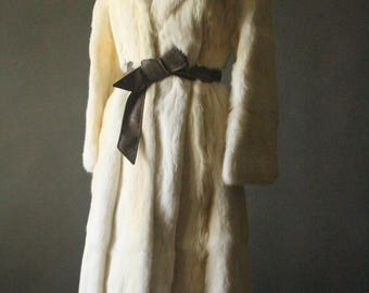 Vintage 60's/70's Cream Long Rabbit Fur Trench Coat with Bell Sleeves and Leather Belt