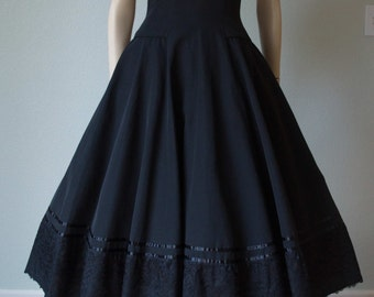 1950s New Look Dress - Black Faille Day Dress - Massive Circle Skirt - Ribbon and Lace Trimmed Skirt - Ellen Kaye Label - Small