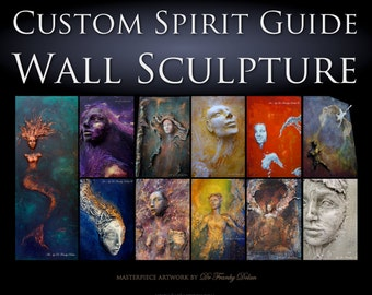 Your Spirit Guide Angel {SEE VIDEOS} Wall Sculpture, by Fae Factory spiritual Artist Dr Franky Dolan (custom clay relief & canvas painting)
