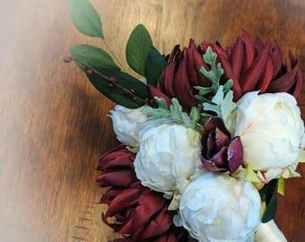 Wedding Bouquet - Burgundy Red Chrysanthemum - Magnolia Bud - Peonies - Dusty Miller