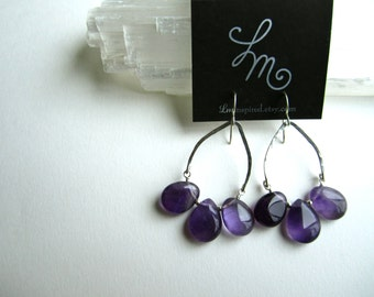 Purple Amethyst Triple Teardrop Hammered Sterling Silver Arch Statement Earrings by LM-inspired