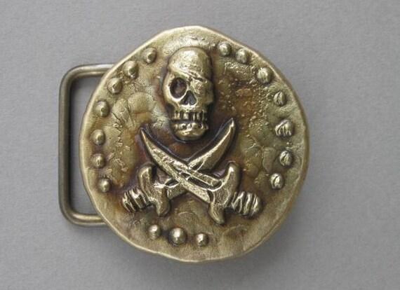 Round Pirate Doubloon Bronze Belt Buckle