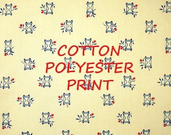 1 YARD, Cream Hourglass Print, Fashion or Craft Fabric, Klopman Mills, Lightweight, Cotton Polyester, B5