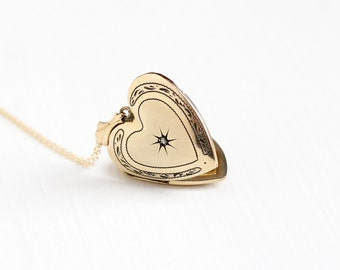 Vintage Heart & Star Incised Diamond Locket Necklace - Late Art Deco Era 1940s 12k Gold Filled Fob Original Photographs Pendant Jewelry
