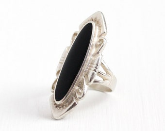 Sale - Vintage Sterling Silver Black Onyx Statement Ring - 1970s Size 6 Retro Black Oval Gem Southwestern Marquise Navette Tribal Jewelry