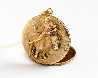 Sale - Antique Horse & Jockey Locket Necklace - Vintage Gold Filled Early 1900 Victorian Edwardian Round Equestrian Rare Pendant Fob Jewelry