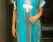 SPRING 10% OFF SALE //// Spring Trend Resort Caftan Kaftan Bedoin Style-Turquoise- loungewear,beachwear, Mother's gift for moms ,and to be m