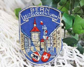 Vintage Bern Switzerland Travel Souvenir Patch 1960, Bern Zeitglockenturm