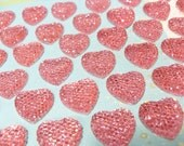 25x 18mm Pink Rhinestone Heart Cabochons
