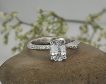 Twig engagement ring oval white sapphire / 14k white gold twig 1.7 carat gemstone ring