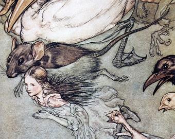 Pool of Tears,  Arthur Rackham, Vinatge Art Print