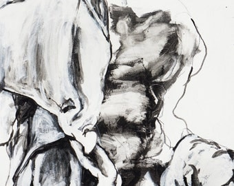 """Large Classical Male Figure Painting on Canvas - Draped figure - expressive, abstract black, white, grey, 30 x 48"""""""