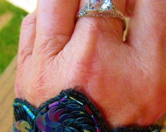 Early Antique Filigreed Sterling Silver Engagement Ring Cut Glass Paste Stone
