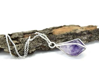 Amethyst Crystal Point Necklace in Sterling Silver - Gemstone Cage Necklace - Choose Your Finish - G