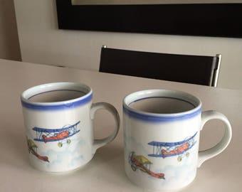 Vintage Otagiri Coffee Tea Mug Decorated With BiPlanes Fighter Planes/  Ceramic Mugs / PAIR/ By Gatormom13