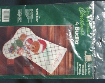 Christmas Stocking Bucilla Cross Stitch Kit Santa Bear Stocking DIY Christmas Stocking Kit Holiday Stocking Kit Sealed