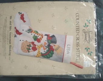 Christmas Stocking Kit Mr. and Mrs. Snowman Candamar Cross Stitch Kit Unopened DIY Christmas Cross Stitch Kit