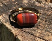 Red Rainbow Jasper stone , antique brass wire wrapped ring - size 8 , gemstone wrap , gold , handmade jewelry , men women unisex earthy