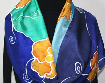 Navy Blue, Orange Hand Painted Silk Shawl ORANGE FLOWERS, in Several SIZES. Handmade Anniversary Gift, Mother Gift. Bridesmaid Gift