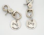 INITIALS or MONOGRAM Key Chains. Pair of Salty Dog Key Fobs. CUSTOM Longitude Latitude. Wedding. His and Her Gift. Hand Stamped Keychains