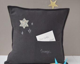 New Baby Gift - Wish Cushion - Personalised - Neutral Baby Gift - Scandi Decor - Keepsake Gift - Star Cushion - Pocket Cushion - Pillow