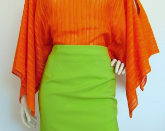 Tangerine Dream - slit drape top in orange vintage 70s fabric