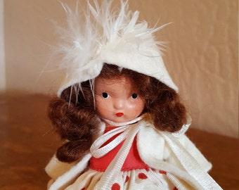 Nancy Ann Storybook Doll Winter 93 Bisque In Original Box with Brochure - Oak Hill Vintage