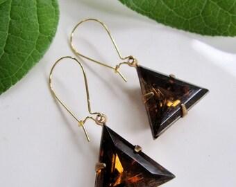 Topaz Pyramid Earrings, Geometric Earrings, Trending Style, Modern Earrings, Long, Art deco Style, Redpeonycreations