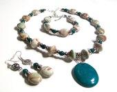Bold Ceramic, Jasper & Rich Green Turquoise Pendant Necklace Set, Statement Necklace, 3 Piece Set