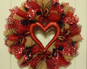 Valentines Day Wreath, Red Natural Black Wreaths, Heart Wreath, Front Door Wreath - Item 2464