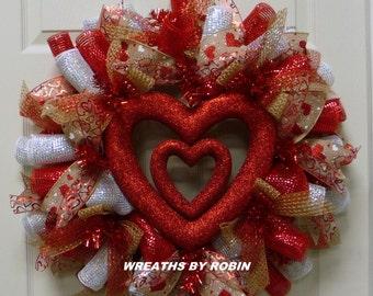 Valentine Heart Wreath, Valentine's Day Wreath, Red White Natural Wreaths - Item 2469